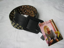 BETSEY JOHNSON Black/Gold Faux Leather Square Buckle Belt Size S/M  - $27.72