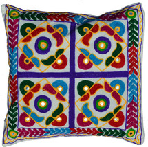 """Ethnic Embroidery Cushion Covers 40cm 16"""" Washable Cream Cotton Traditio... - £7.85 GBP"""