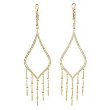 Rachel Koen Party Diamond Drop Dangle Chandalier 14K Yellow Gold  Earrings - $1,586.25