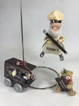 Vintage Hershey's Chocolate Christmas Ornament Lot Grandpa & 1983 Cart - $7.91