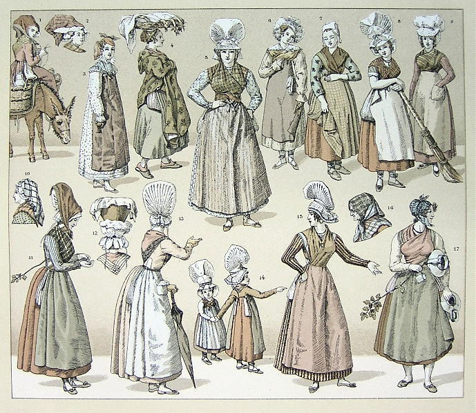 Primary image for FRANCE late 19th C Costume Women Headgear - TINTED Litho Print by Racinet