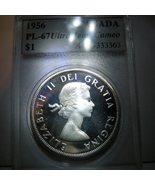 Canada Silver Dollar 1956 graded PL-67 - $725.00