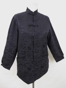 VTG BLACK SILK JACQUARD CHINESE ASIAN KIMONO JACKET w RED LINING GOOD LUCK S M