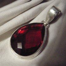 Sterling Silver Red Garnet Drop Pendant - $27.50