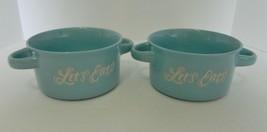Two Handle Soup Mugs Bowls Let's Eat Script Embossed 22 fl oz Lot of Two... - $19.79