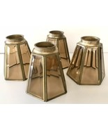 Beveled Amber Glass and Brass Ceiling Fan Light Shades 6 Sided Set of 4 ... - $40.00