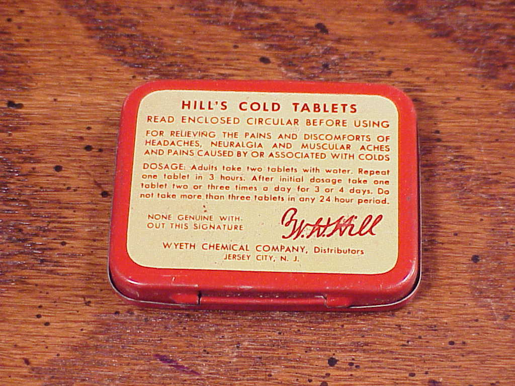 Vintage Hill's Cold Tablets Metal 30 Cent Tin