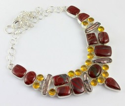 iron Tiger 'Eyes-Citrine-Biwa Pearl Silver Overlay Handmade Jewelry Necklace G-5 - $25.38