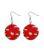 Holy Leaves Birds Christmas Mylar Button Earrings - $8.99
