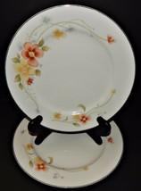 2 Annabelle Fine China Dinner Plates Yellow Orange Flower #2360 White Ja... - $29.69