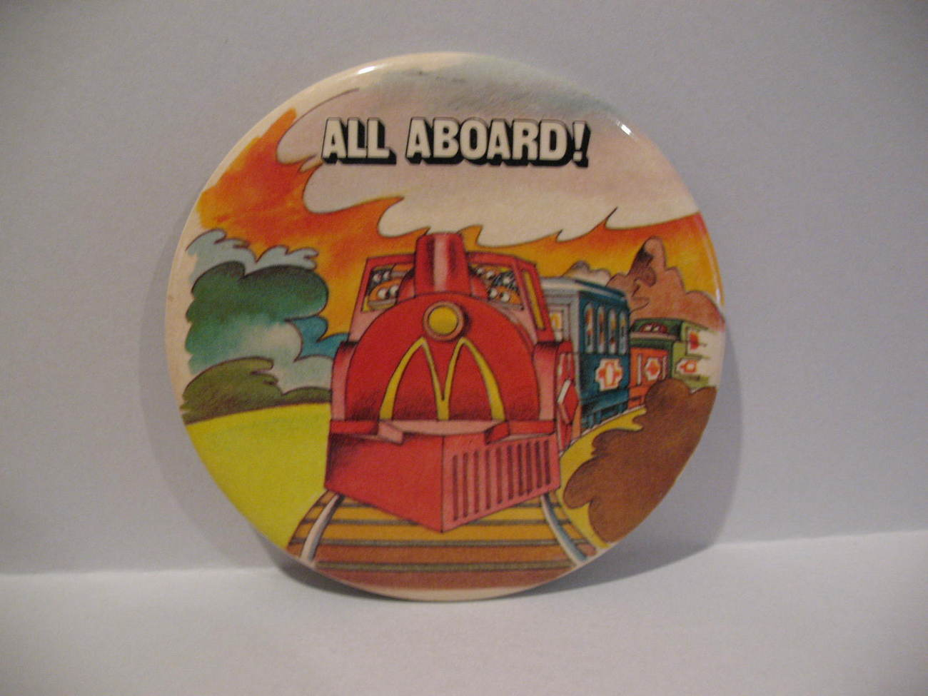 Primary image for All Aboard McDonald's Train Pinback Button Lapel Pin