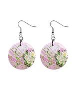 Floral Custom Mylar Button Earrings - $8.99