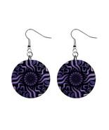 Purple Daze Custom Mylar Button Earrings - $8.99