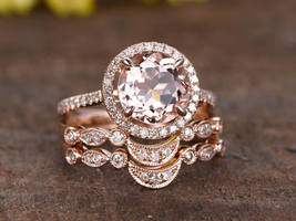 8mm Round Morganite & Diamond Engagement Curved Halo Ring Set 14K Rose Gold Over - $99.99