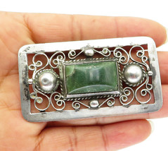 JOSE ANTON MEXICO 925 Silver - Vintage Jasper Baroque Swirl Brooch Pin -... - $58.25