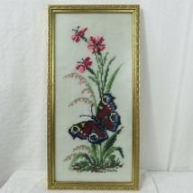 Butterfly Flowers Framed Needlepoint 70s Vintage Wall Art Framed  - $62.37