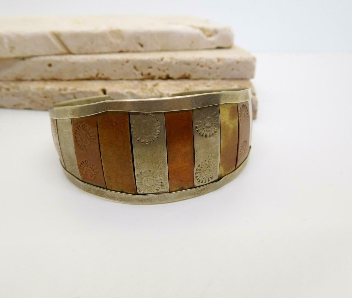 Vintage Handcrafted Mixed Metal Silver Copper Brass Embossed Cuff Bracelet Z33