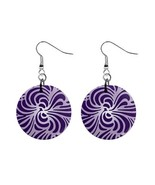 Purple Pattern Custom Mylar Button Earrings - $8.99