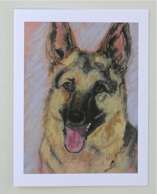 German Shephard Dog Art Note Cards Solomon