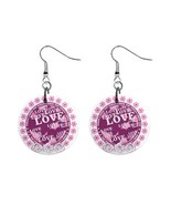 Love Custom Mylar Button Earrings - $8.99