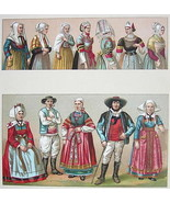 BRITTANY Costume of Bretons France Brittany - SUPERB Color Print by A. R... - $22.95