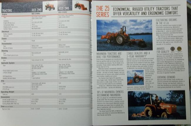 2008 Mahindra 3825, 4025, 4525, 5525, 6525 Tractors Color Brochure
