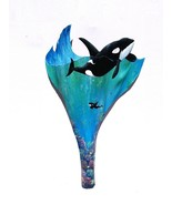 Orca Killer Whale carved painted palm tree frond wooden animal sea life ... - $79.00