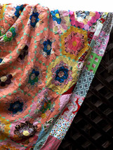Antique Multi Color Grandmother's Flower Garden Honeycomb Quilt Hexagon ... - $280.00
