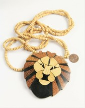 ESTATE Jewelry VINTAGE EARLY LEE SANDS WOOD INLAY INLAID LION NECKLACE - $65.00