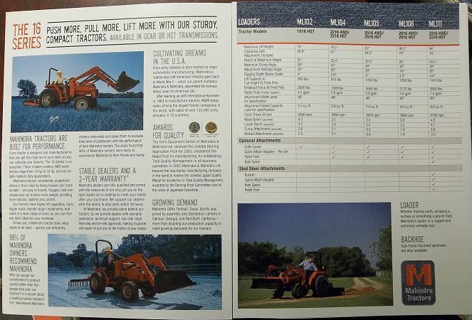 2008 Mahindra 1816, 2216, 2516, 2816, 3316 Tractors Color Brochure