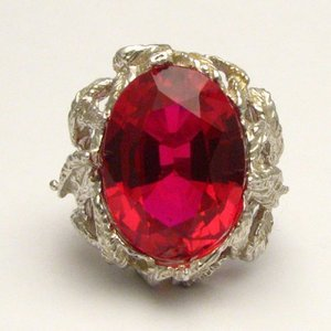 Man made ruby faceted stone 18x13mm solid sterling silver for Man made sapphire jewelry