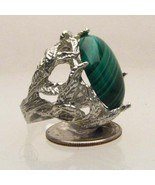 New Malachite Cab 18x13mm Solid Sterling Silver... - $112.50