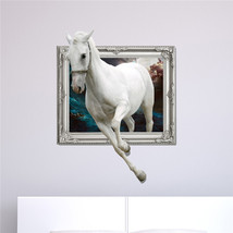 White Horse 3D Wall Decals PAG STICKER Removable Wall Art Animal Stickers Home D - $27.48