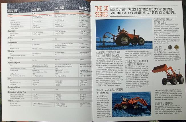 2008 Mahindra 5530, 6030, 6530 Tractors Color Brochure