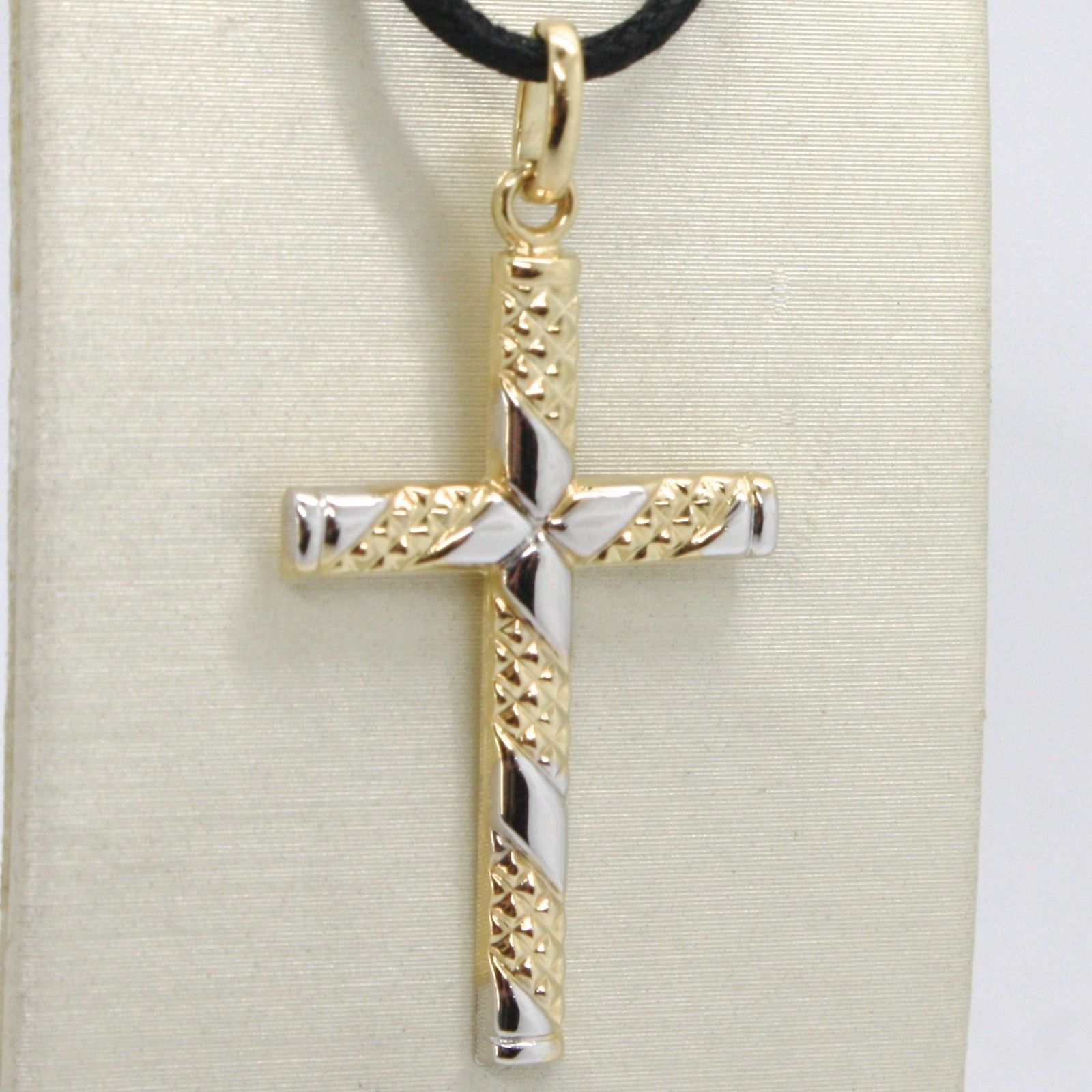 18K YELLOW & WHITE GOLD CROSS PENDANT, FINELY WORKED FLOWER 3.4 CM MADE IN ITALY