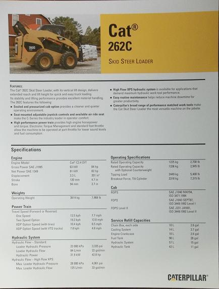 2008 Caterpillar 262C Skid Steer Loader Specifications Brochure