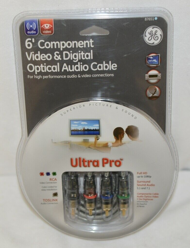 GE 87651 Six Foot Component Video And Digital Optical Audio Cable