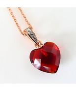 New 14K Rose Gold Over Sterling Silver Heart Pendant Red Swarovski Eleme... - $16.83