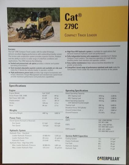 2008 Caterpillar 279C Skid Steer Track Loader Brochure