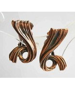 Julio Marsella Elegant Mid Century Modern Copper Clip Earrings 1960s vin... - $19.95