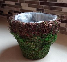 "4"" Moss Basket With Wicker Rim - $17.99"