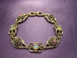 Vintage Sarah Coventry Multiple Gem Station Bracelet Gold Tone Signed De... - $31.19