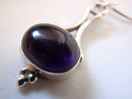 Elegant AMETHYST Oval 925 Silver Pendant / Necklace - $22.07