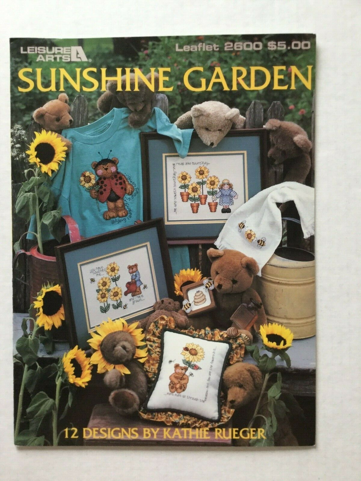 Primary image for Leisure Arts Sunshine Garden 2600 12 Designs By Kathie Rueger Sunflower Bears