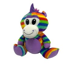 "15"" Colorful Rainbow Stripe Unicorn Plush Stuffed Animal Peek A Boo Toys - $13.32"