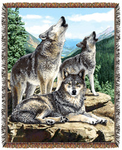 67x53 WOLF Wolves Wildlife Nature Tapestry Throw Blanket - $46.50
