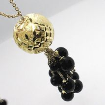 Silver necklace 925, Yellow, Large Machined Ball, BLACK ONYX Waterfall image 4