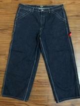 "Mens Vintage 90s Ralp Lauren Polo Dark Blue Carpenter Jean's Hemmed 38""X 27"" 10A - $49.49"