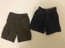 Gently Used boys toddler sz 18M shorts 2 pairs blue brown bermuda cargo ... - $9.90