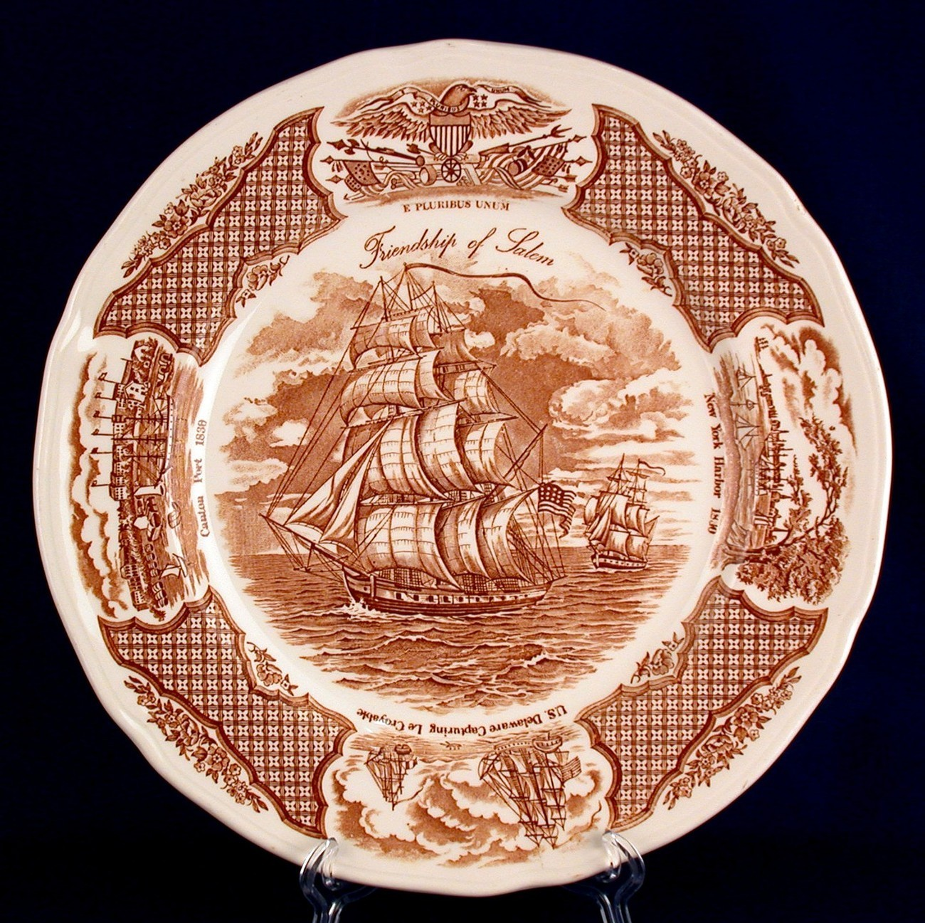 Primary image for Meakin Dinner Plates Friendship of Salem Fair Winds Brown China Trade Ship
